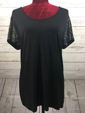 Grace Elements Womens Rayon Blend Pullover Rhinestone Shirt Black Size XL