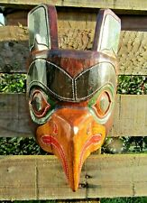 More details for fair trade hand carved made american indian tribal eagle totem pole wooden mask