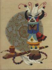 Vintage Kachina Stitchery Framed Wall Art