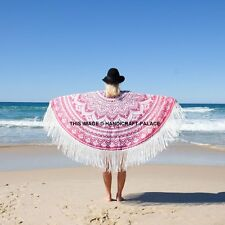 "Ombre Mandala Tassel Lace Poncho Women Beach Dress Top Round Indian Kaftan 31"""