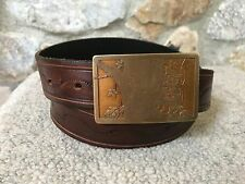 "Vintage Ampersand RACCOON Brass Belt Buckle on Hand Tooled Leather Belt 34-38"""