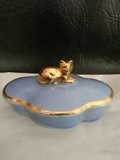 Vintage Trinket Box Blue With Gold Cat And Gold Trim 5 Inches