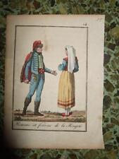 1820s,ENGR.OLDCOLOR COSTUME HUNGARY,COUPLE,BUDAPEST,DEBRECEN,SZEGED,MISKOLC,PECS