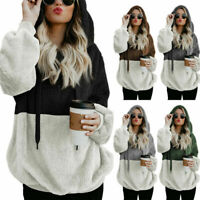 Women Sweatshirt Jumper Coat Fluffy Cardigan Fur Winter Hooded Hoodie Pullover