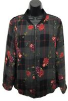NWT Christopher & Banks Front Zip Jacket Womens L Large Black Floral MSRP $60