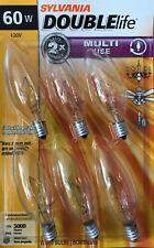 6 SYLVANIA 60-Watt Clear Double-Life B10 Blunt Tip Light Bulbs w/Candelabra Base