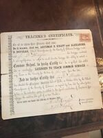 TEACHER'S CERTIFICATE DELAWARE COUNTY OCTOBER 1863 WITH REVENUE STAMP