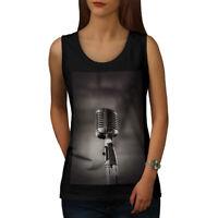Wellcoda Classic Microphone Womens Tank Top, Clear Athletic Sports Shirt