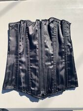 Heavy Red Gothic Steel Boned Corset Black Satin Large