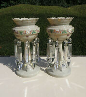 Pair of Antique Opaline Glass Lustre/Luster/Mantle Vases with Drops - Painted