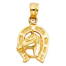 14k Solid Yellow Gold Horseshoe Horse Head Lucky Good Luck Pendant Charm