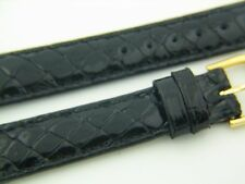 Fancy Black genuine Crocodile 16 R watchband watch strap band 2 buckles