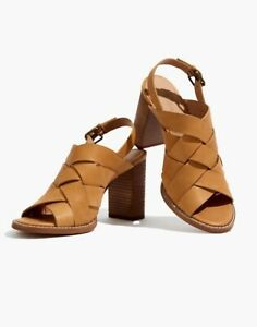 Madewell Cindy Woven High Heel Sandals Sz 10 Strappy Leather L5985 Desert Camel