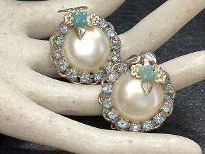 Vintage Pretty Faux Pearl & Blue Rhinestone Bead Flower Clip On Earrings