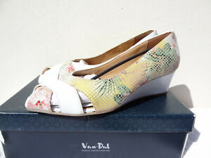 Van Dal Paxton Tropical Floral Print White Sandals Sling Back Wedge 7 40
