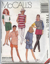 McCall's 7160 Sewing Pattern Misses' Stretch Knit Tops Pants Shorts L-XL 16-22