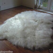Quad Natural Icelandic Sheepskin Rug - White Sheepskin - Long & Extra Soft Wool