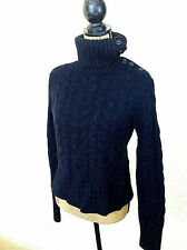 $175 Banana Republic Black Angora Lambswool blend cable knit sweater*Us L