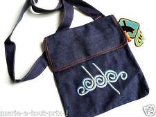 petit sac bandouliere en jean DDP broderie logo doublé + poche intérieure zip