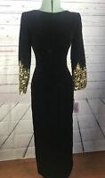New Victor Costa Sz 8 Black Velvet Long Evening Gown Bloomingdales Sequin Sleeve