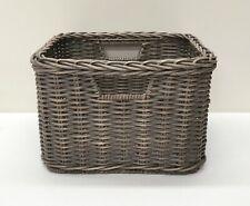 NEW Pottery Barn Channing Wicker Weave TOWER Shelf Basket~GRAY