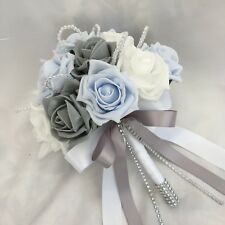 POSY BOUQUET, BABY BLUE, WHITE & GREY ROSES,  ARTIFICIAL WEDDING FLOWERS