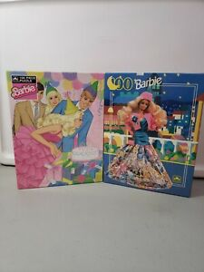VINTAGE lot of 2 - 80s and 90s BARBIE JIGSAW PUZZLE SEALED 100 PIECE by Golden
