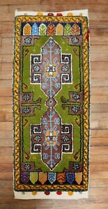 Vintage Kiwi Turkish Oushak Yastik Rug Size 2'x4'3''