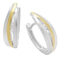 Ohrringe Creole echt 925 Silber vergoldet mit Zirkonia weiss und Anlaufschutz
