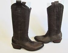 Frye Womens Carson Pull On Leather Western Boots Smoke Brown 77686 6