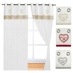 Curtains Window Port Internal Pair 2pz More Sizes Fabric Linen Heart Embroidered