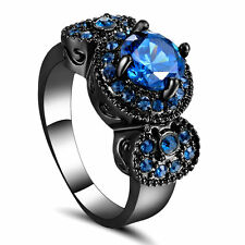 Size 7 Black Gold Wedding Ring Engagement Cluster Blue Crystal Anniversary