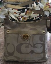 Coach Penelope Signature Optic Hippie Khaki/Gold Crossbody Bag F18478 EUC! $170
