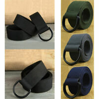Mens Womens Canvas Belt with Double D Ring Metal Buckle Waistband Fashion New