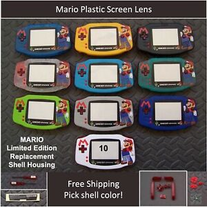 MARIO LE Gameboy Advance GBA Replacement Housing Shell Plastic Screen-Pick Color