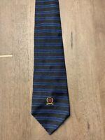 Tommy Hilfiger Neck Tie Black Blue Striped Made In USA Silk Men Necktie Vintage