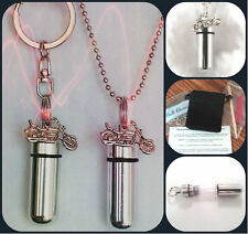 MOTORCYCLE  2pc.Special Set Cremation Urn Necklace & Keychain Urn w/Pouch