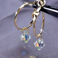 18k yellow gold gp hoop stud earrings made with SWAROVSKI crystal dangle hoops