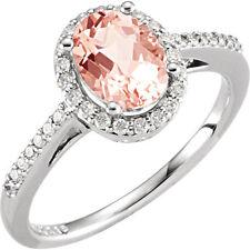 Genuine Morganite Gemstone & 1/5 cttw Diamonds Ring 14K. Solid White Gold size 7