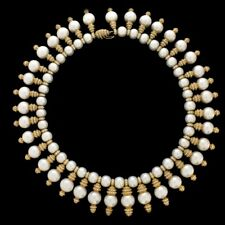 18K Yellow Gold Diamond Pearl Vintage Antique Necklace 16 Inch 25.00ct TDW