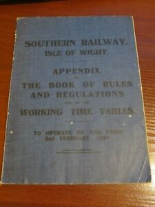 Southern Railway Isle of Wight Appendix to the Book of Rules & Regulations 1930