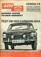 MOTOR UND SPORT 1962/10: TEST. VW 1500 KARMANN-GHIA / HONDA V8 / DEEP SANDERSON