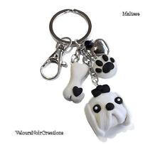 Portachiavi cane bianco maltese osso e orma zampa dog