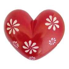 Medium Red Flowers Heart - Soapstone - Handmade in Kenya - Fair Trade