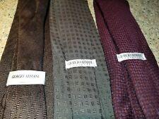 vgc giorgio armani lot of 3 necktie tie ties woven silk burgundy grey brown