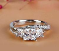 2.00 Ct Princess Cut Diamond 14K White Gold Over Three Stone Engagement Ring