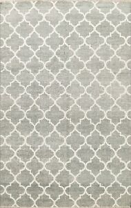 Contemporary Trellis Modern Oriental Area Rug Hand-Knotted Wool Green Carpet 6x8