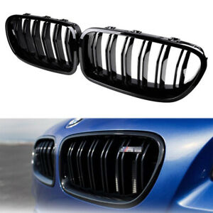 Fit For BMW F10 F11 M5 Look Twin Bar Slat Gloss Black Front Kidney Grill Grille