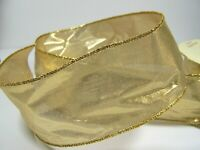 Shiny Gold Sheer Wired Ribbon 2 1/2 Inches by 3 Yards Crafts Christmas Bows Gift