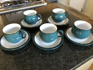 Denby Greenwich Green Tea Coffee cups and saucers.